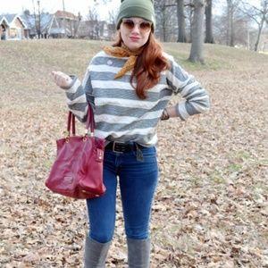 ANTHROPOLOGIE Saborie Striped Sweatshirt